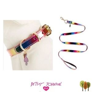 Betsey Johnson Rainbow Pride Dog Collar and Leash